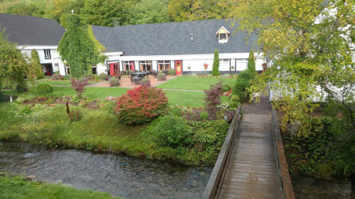 A view to the inn and restaurant from across the Brook.