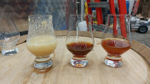 Wheat mash, 3 month old Rhumb, and 3 week old Rhumb