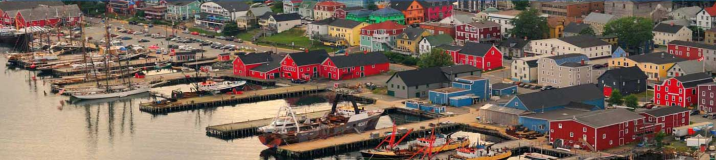 aerial shot of colourful Lunenburg